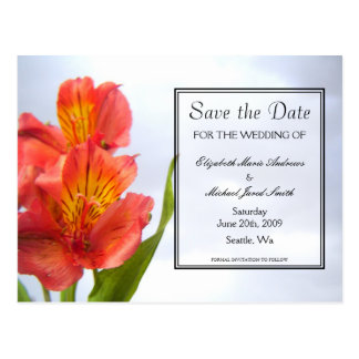 Save the Date Orange Lily Postcard
