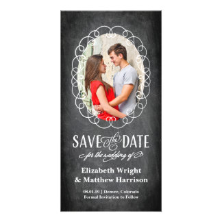 Save the Date   Oval Romance Chalkboard Photo Cards