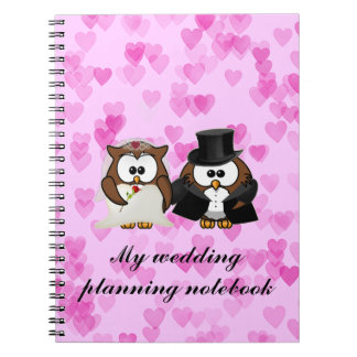 save the date owl spiral notebooks