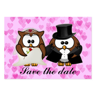 save the date owl pack of chubby business cards