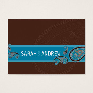 SAVE THE DATE :: Paisley - choc & teal Business Card