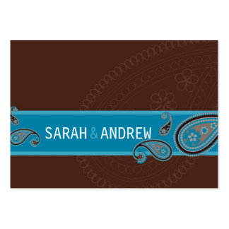 SAVE THE DATE :: Paisley - choc & teal Pack Of Chubby Business Cards