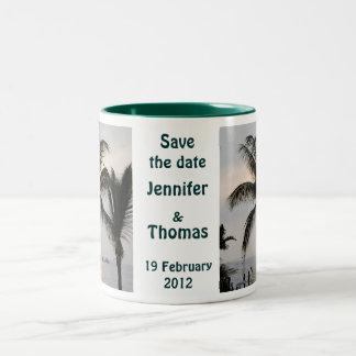 Save the Date palm tree Two-Tone Mug