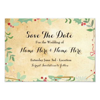Save The Date Paper Rustic Winter Holidays Berries 9 Cm X 13 Cm Invitation Card