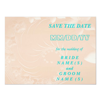 Save the Date - Pastel Brown Abstract Flowers 17 Cm X 22 Cm Invitation Card