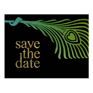 Save the Date Peacock Feather Set 1104 Postcard