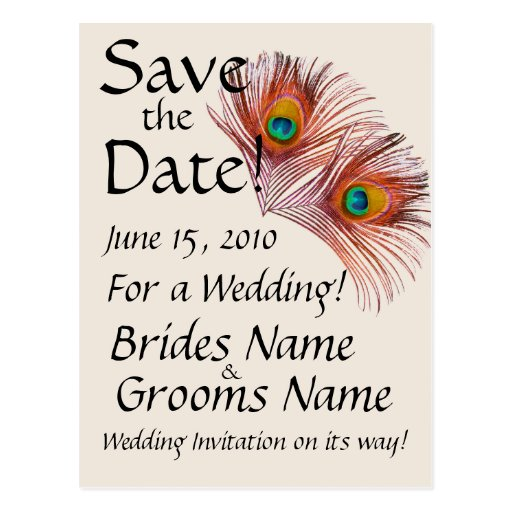Save the Date Peacock Postcard