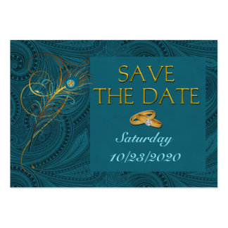 Save the Date Peacock Wedding Cubby Mini Cards Large Business Cards (Pack Of 100)