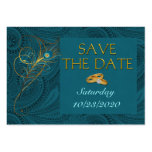 Save the Date Peacock Wedding Cubby Mini Cards Pack Of Chubby Business Cards