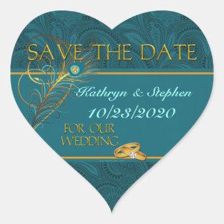 Save the Date Peacock Wedding Heart Heart Sticker