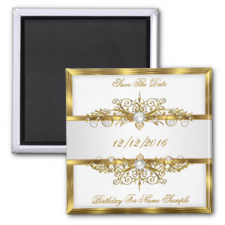 Save The Date Pearls White Gold Birthday Party 2 Inch Square Magnet