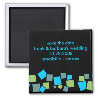 Save the Date Personalized - Blocks Square Magnet