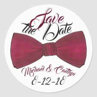 Save the Date Personalized Wedding Groom Bowtie Classic Round Sticker