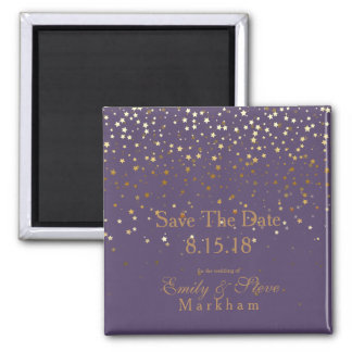 Save The Date Petite Golden Stars Magnet-Amethyst Magnet