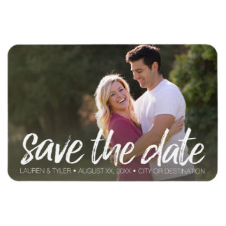 Save the Date - Photo and Modern Brushed Lettering Rectangular Photo Magnet