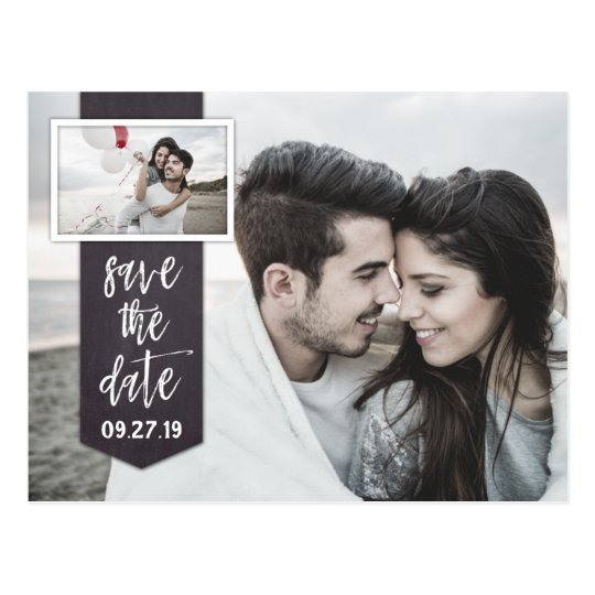 Save the Date Photo Chalkboard Rustic Wedding Postcard