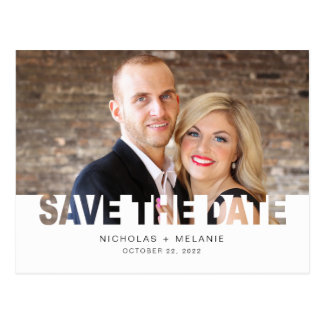 Save the Date photo postcard, cutout overlay Postcard