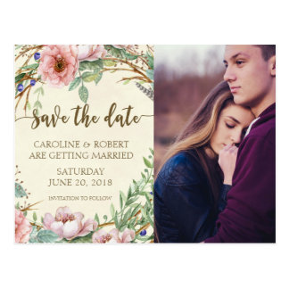Save the date photo postcard personalized floral