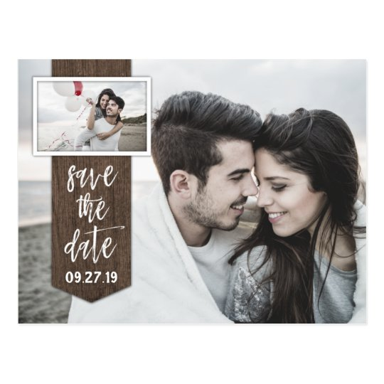 Save the Date Photo Rustic Barn Wood Wedding Postcard