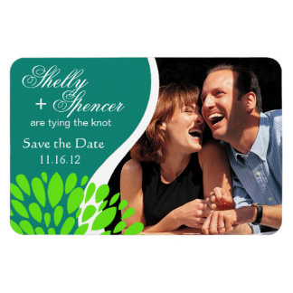 Save the Date Photo | teal lime green Rectangular Photo Magnet