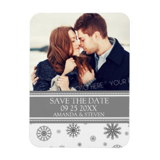 Save the Date Photo Wedding Magnet Grey Snow