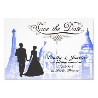 SAVE THE DATE PHOTO WITH VIEW OF PARIS, FRANCE
