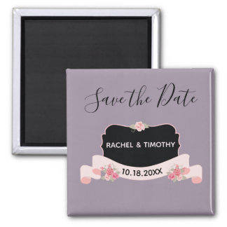 Save the Date Pink and Purple Beauty Magnet