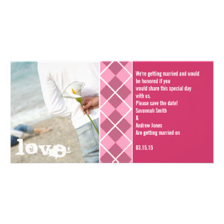 Save The Date Pink Argyle Your Photo Photo Greeting Card