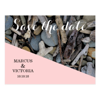 Save the date Pink Beach Stones Wedding Postcard