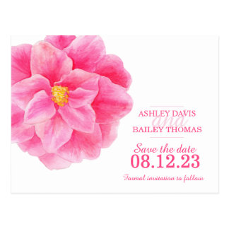 Save the date pink camellia flower card postcard
