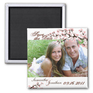 Save the Date Pink Cherry Blossom Floral Magnet