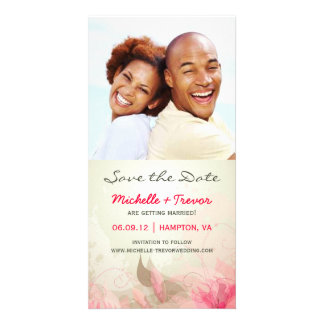 Save the Date - Pink & Green Floral Photo Cards