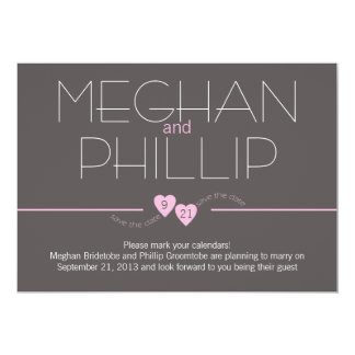 Save the Date Pink Hearts 13 Cm X 18 Cm Invitation Card