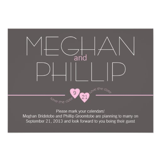 Save the Date Pink Hearts Personalized Invitations