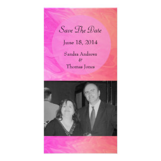 Save the Date Pink orange marble texture Photo Card