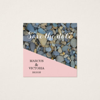 Save the date Pink Pebbles Wedding Square Business Card