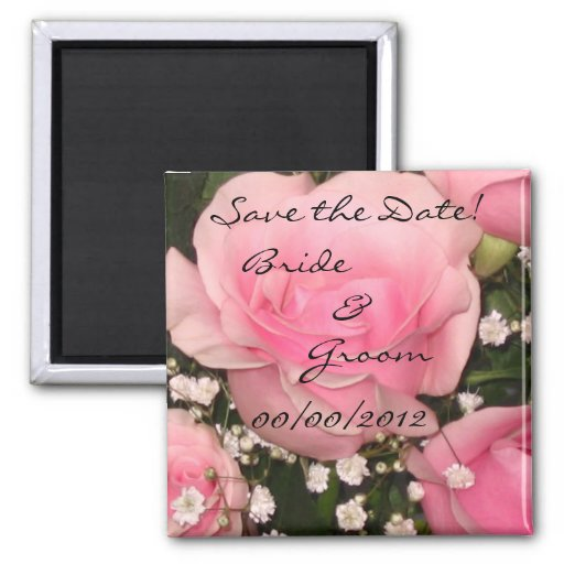 Save the Date Pink Rose Magnet