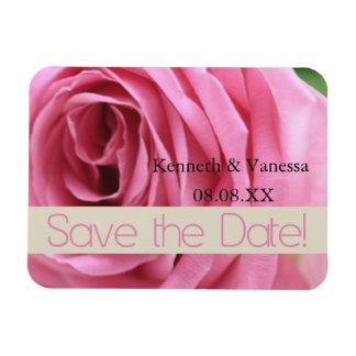 Save the Date pink rose Rectangular Photo Magnet