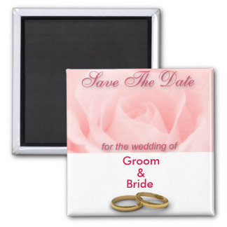 Save The Date Pink Rose & Wedding Rings Square Magnet
