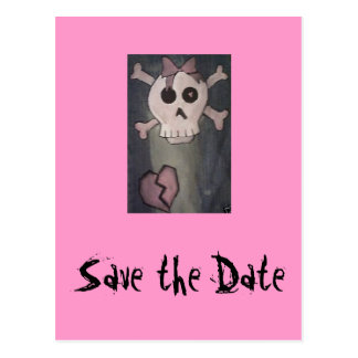 Save the Date Pink Skull Invitations Postcard