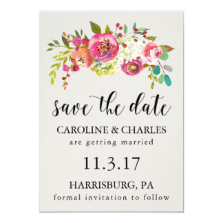 Save the Date Pink Watercolor Floral Rustic Boho Card