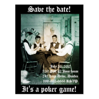 SAVE THE DATE POKER PARTY 1890 PHOTOGRAPH MEN POSTCARD