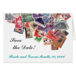 Save the date postage stamps greeting card