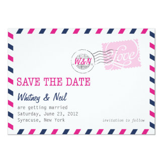 """Save the Date Postal Service Collection 4.5"""" X 6.25"""" Invitation Card"""