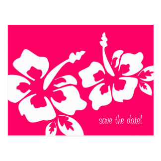 Save the Date Postcard Beach Wedding Hibiscus Pink