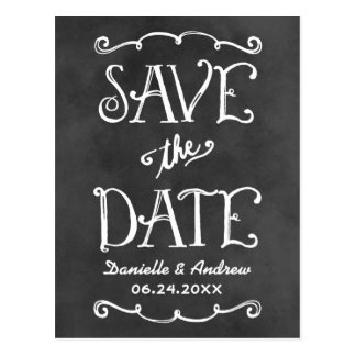 Save the Date Postcard | Black Chalkboard Charm