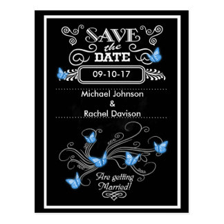 Save the Date Postcard Blue Butterflies Vintage