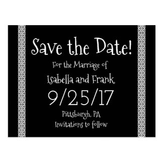 Save The Date Postcard - Classic Black and White