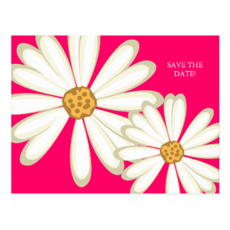 Save the Date Postcard Daisy Wedding White Pink
