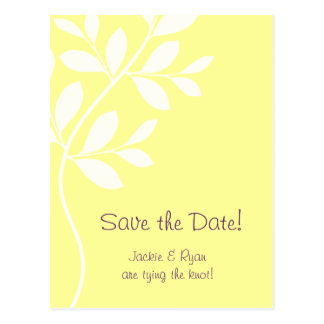 Save the Date Postcard Leaf Branch Stamp Yellow